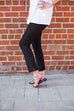 Eileen Fisher Washable Stretch Crepe Slim Cropped Pant In Black
