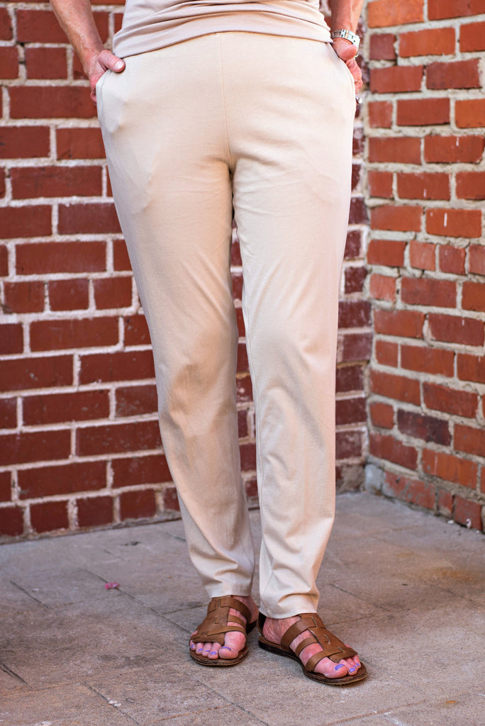 Comfy Long Slim Pants With Pockets In Champagne