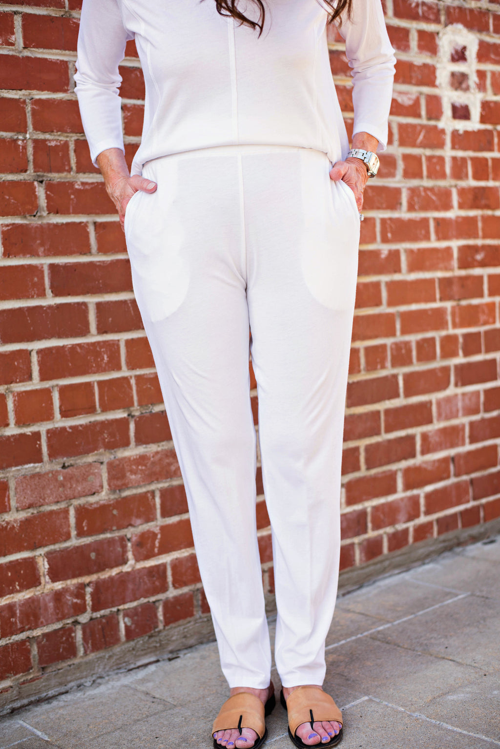 Comfy Long Slim Pants With Pockets In White