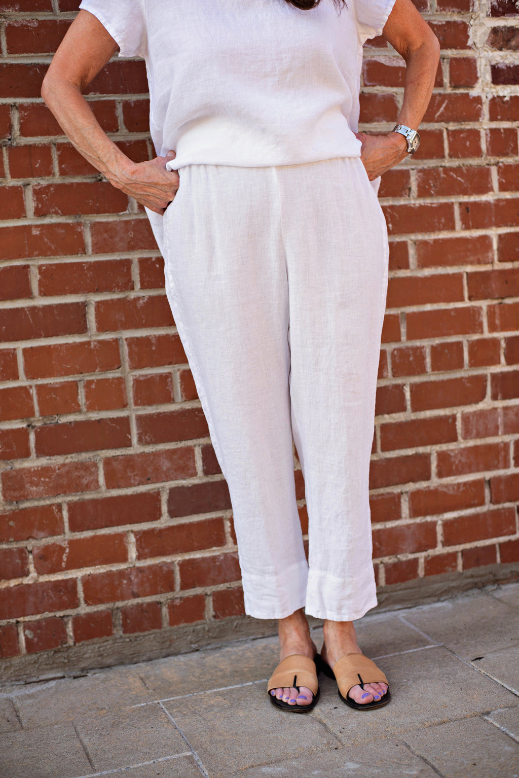 Flax Streamed Ankle Pant In White