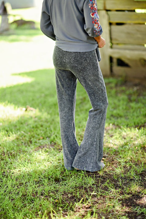 Maddie Bea Mineral Wash Flares in Mid Gray