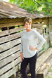 Eileen Fisher Bateau Neck Tee in Slubby Organic Cotton in Dark Pearl