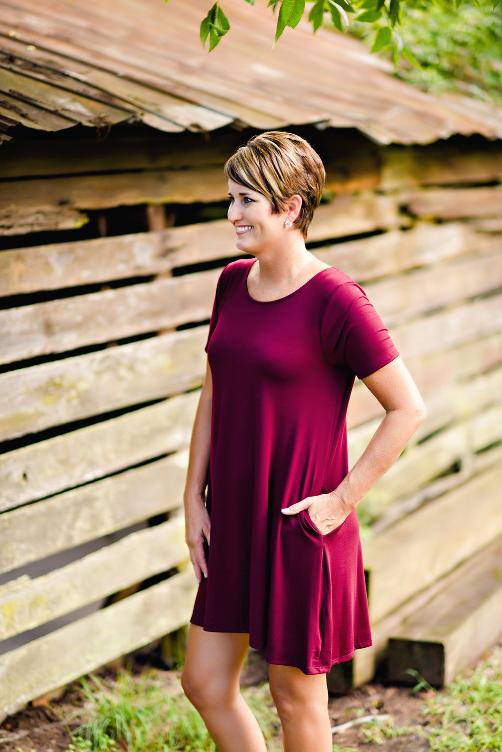 On The Go Tunic Dress in Dark Burgandy