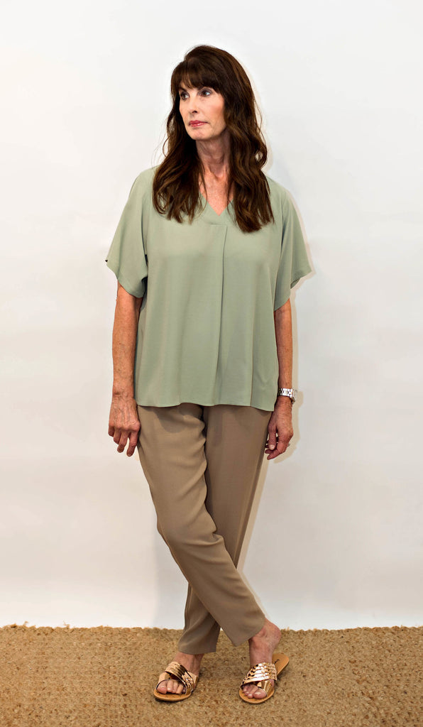 7a63a846157 Eileen Fisher Silk Georgette Crepe V-Neck Top In Sea – RobinsNest