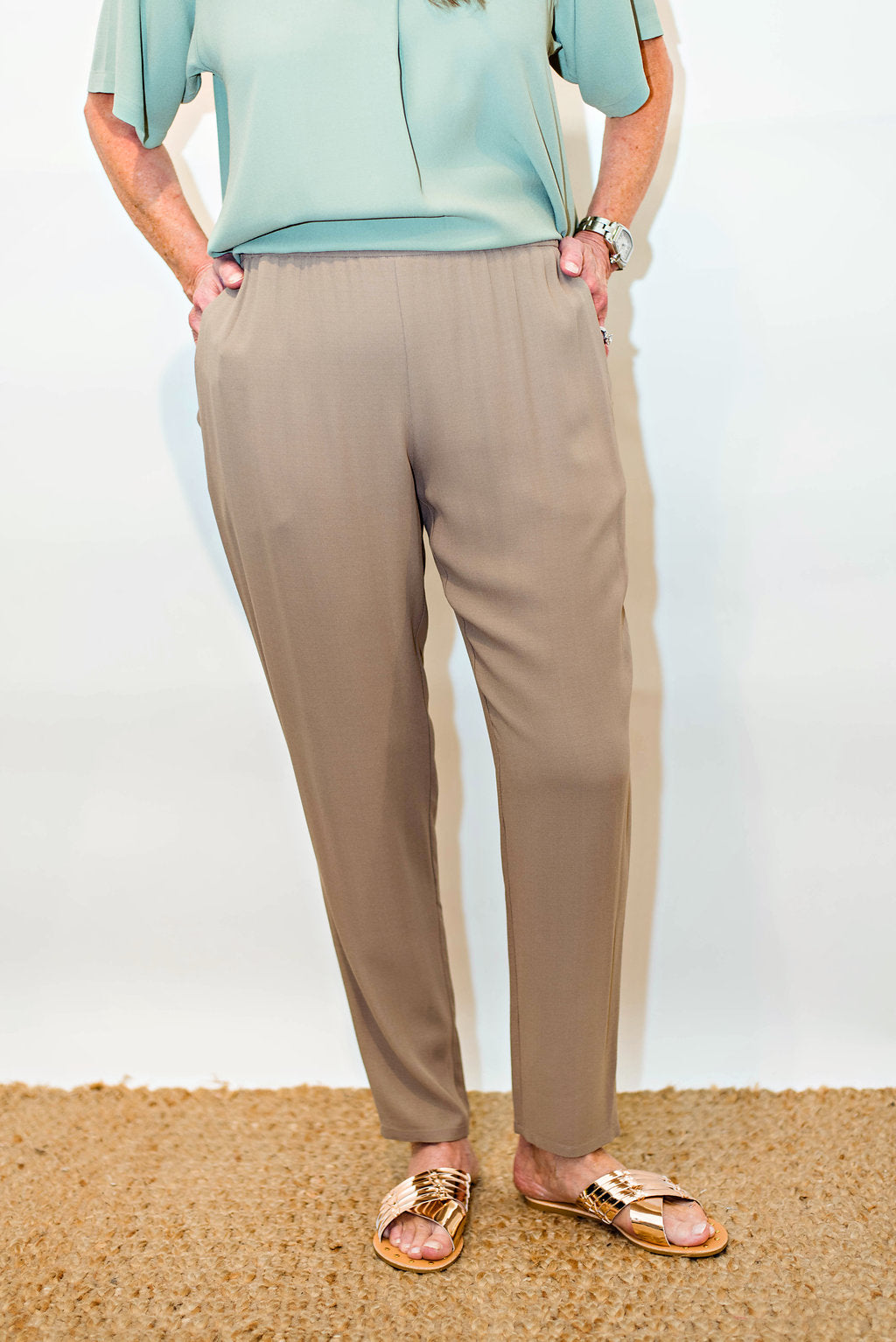 eb710e2b17e Eileen Fisher Silk Georgette Crepe Slouchy Ankle Pant In Mocha ...