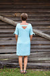 Renuar Short Sleeve Airflow Dress in Light Aqua