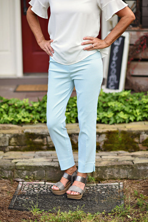 Renuar Pant in Light Aqua Check