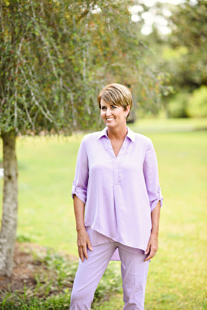 Renuar  Long Sleeve Airflow Blouse in Lavender