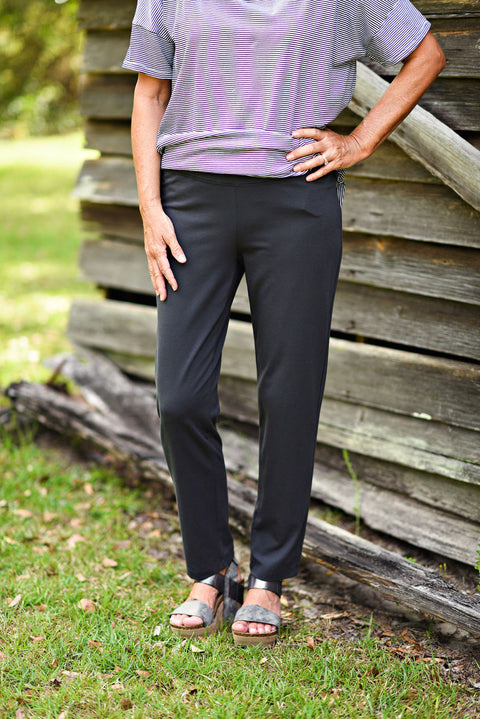 Eileen Fisher Cotton Stretch Jersey Slim Ankle Pant in Graphite