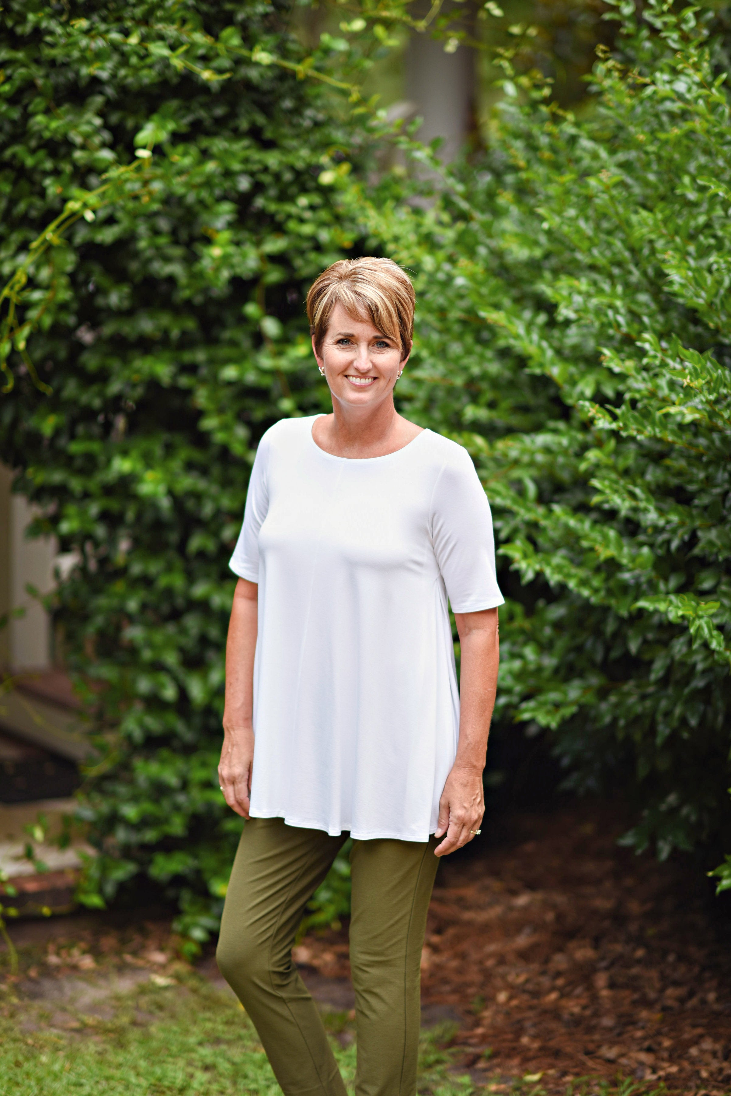 2bc61589521e44 Eileen Fisher Jewel Neck Tunic in White – RobinsNest