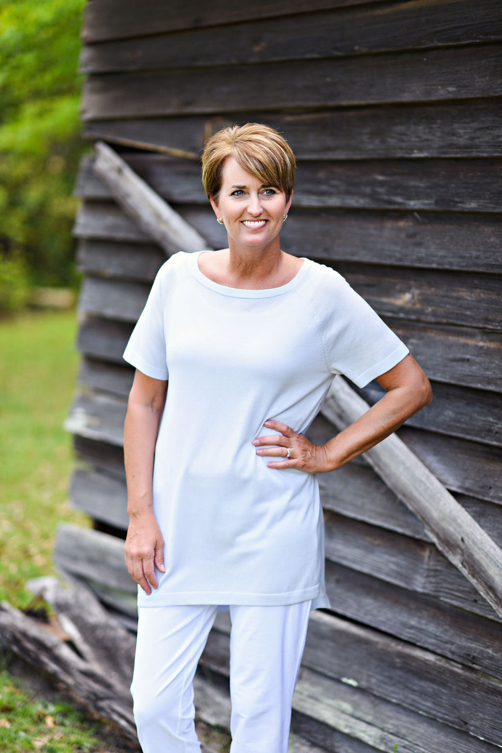 Eileen Fisher Bateau Neck Short Sleeve Tunic in India Sky
