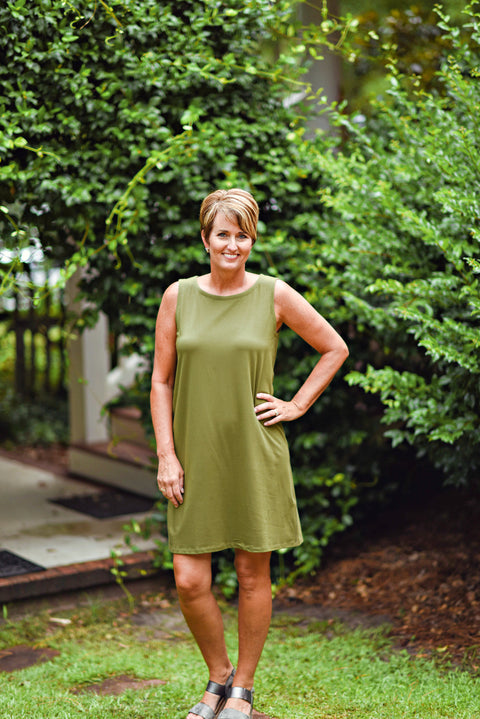 Eileen Fisher Organic Cotton Shift Dress in Olive
