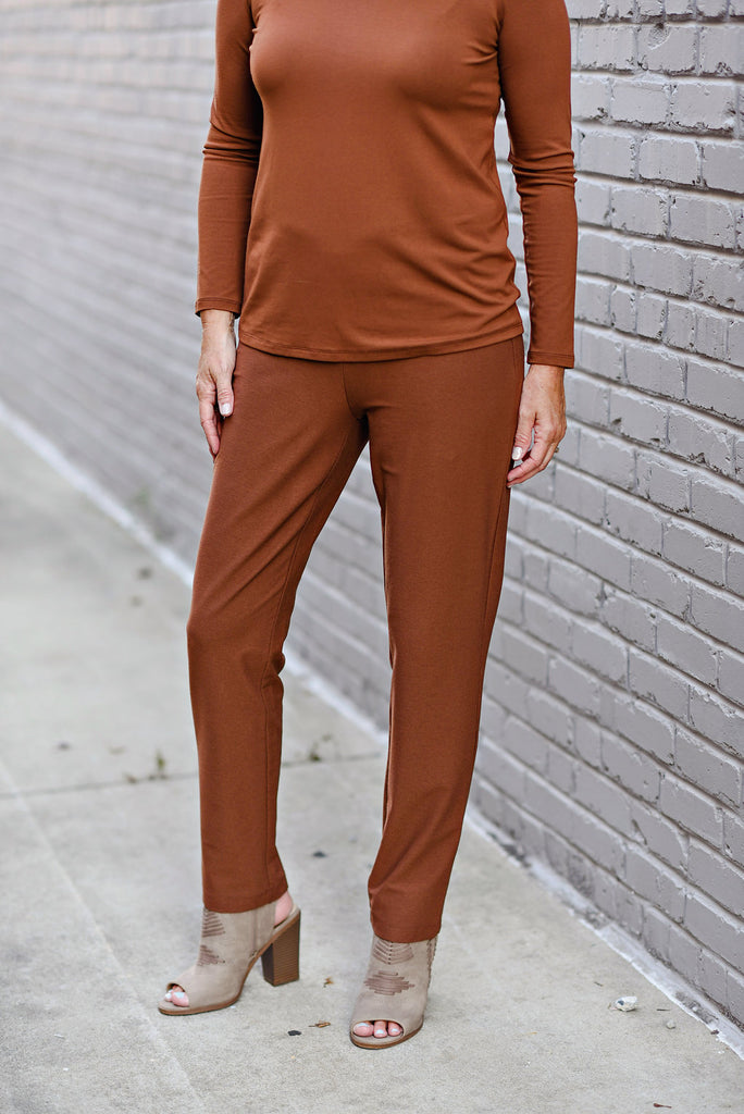 224347a913443e EILEEN FISHER WASHABLE STRETCH CREPE SLIM PANT IN NUTMEG – RobinsNest