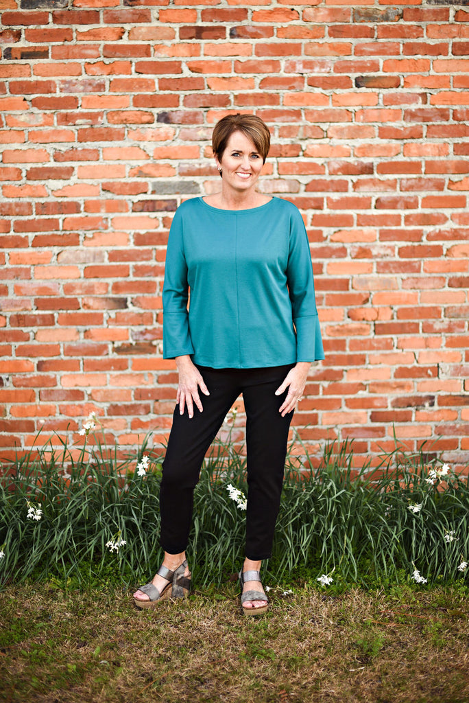 Eileen Fisher Fluid Tencel Top With Flared Sleeves in Teal