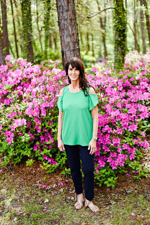 Renuar Short Sleeve Top in Kelly Green