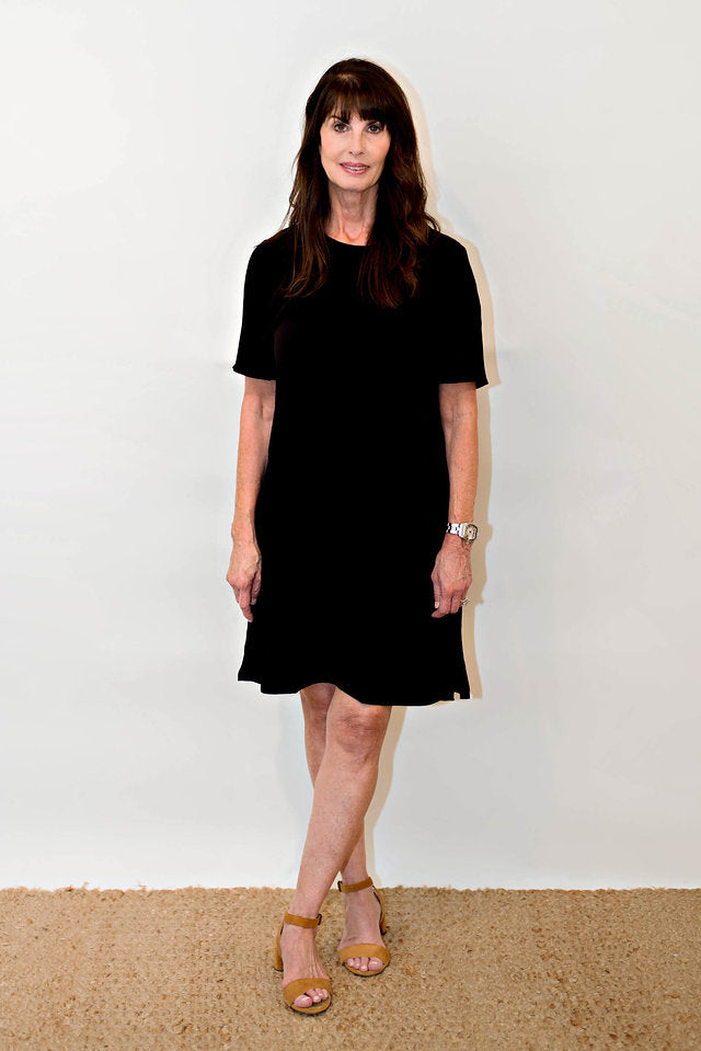 8c66282a3d11c Eileen Fisher Tencel Viscose Crepe Round Neck Dress in Black ...