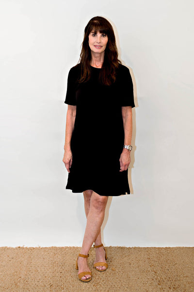Eileen Fisher Tencel Viscose Crepe Round Neck Dress in Black