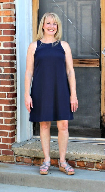 Eileen Fisher Round Neck Short Dress in Silk Georgette Crepe in Midnight