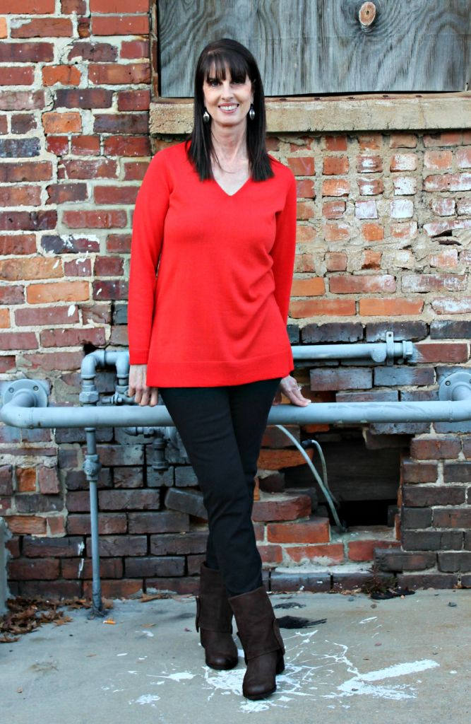 Eileen Fisher Deep V Neck Slim Merino Tunic in Red Poppy