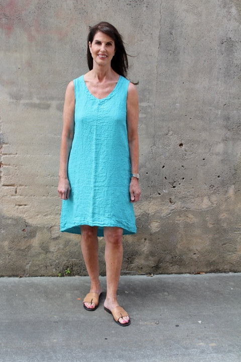 Flax Bold Shapely Dress in Turquoise Seersucker