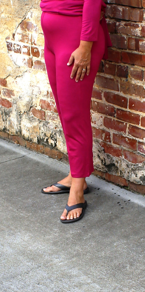 Comfy USA Slim Crop Pant in Deep Fuchsia