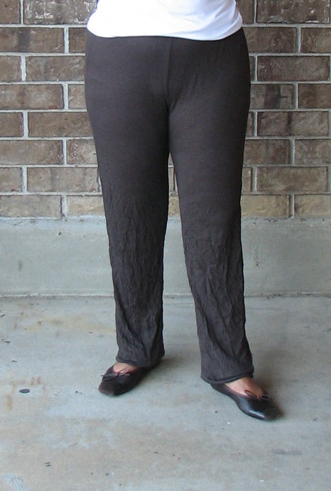 Comfy USA Legging in Chocolate Crinkle Knit