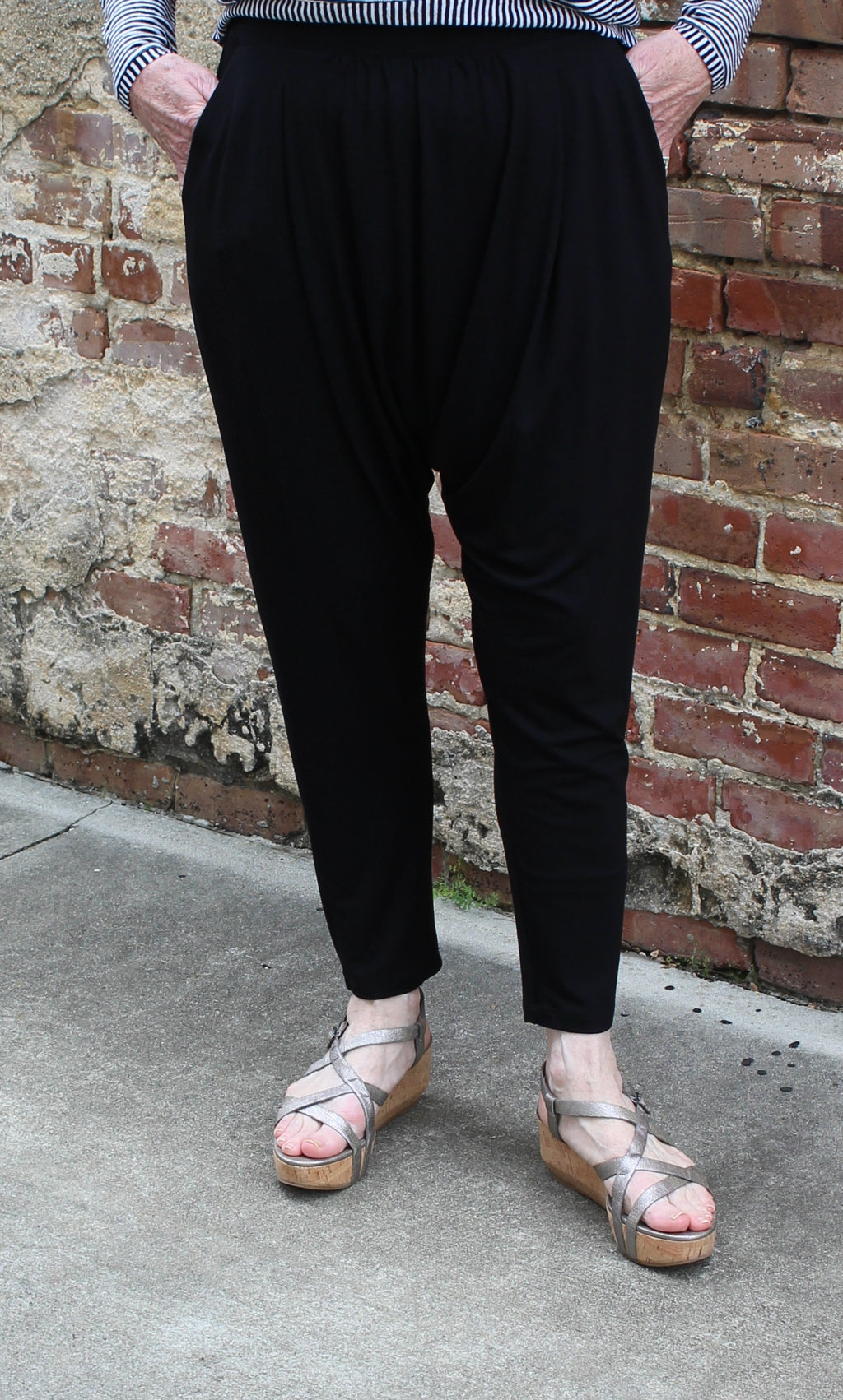 Eileen Fisher Harem Pant With Pleats in Lightweight Viscose Jersey in Black