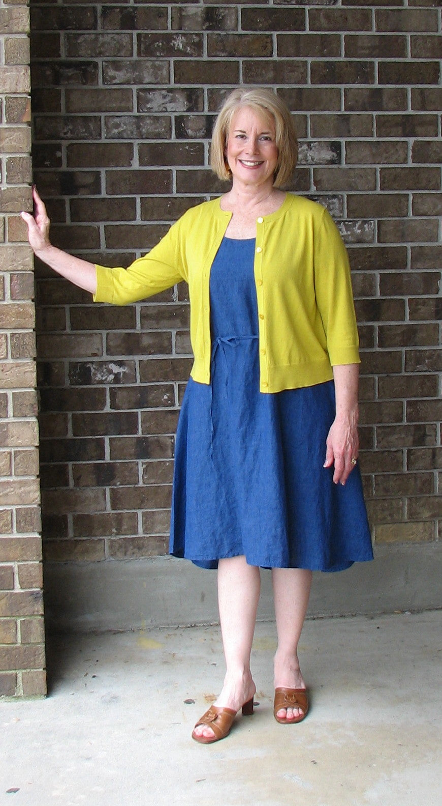 Eileen Fisher U Neck A line Dress in Washed Linen Delave in Blue Angel