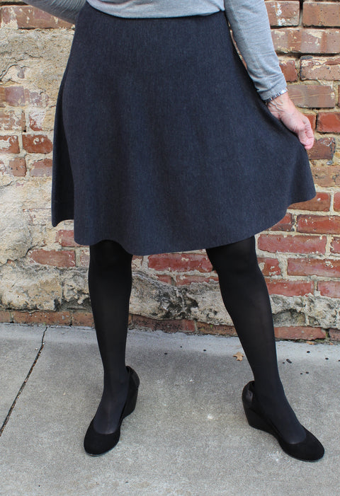 Eileen Fisher Short Skirt in Fine Merino Wool in Charcoal