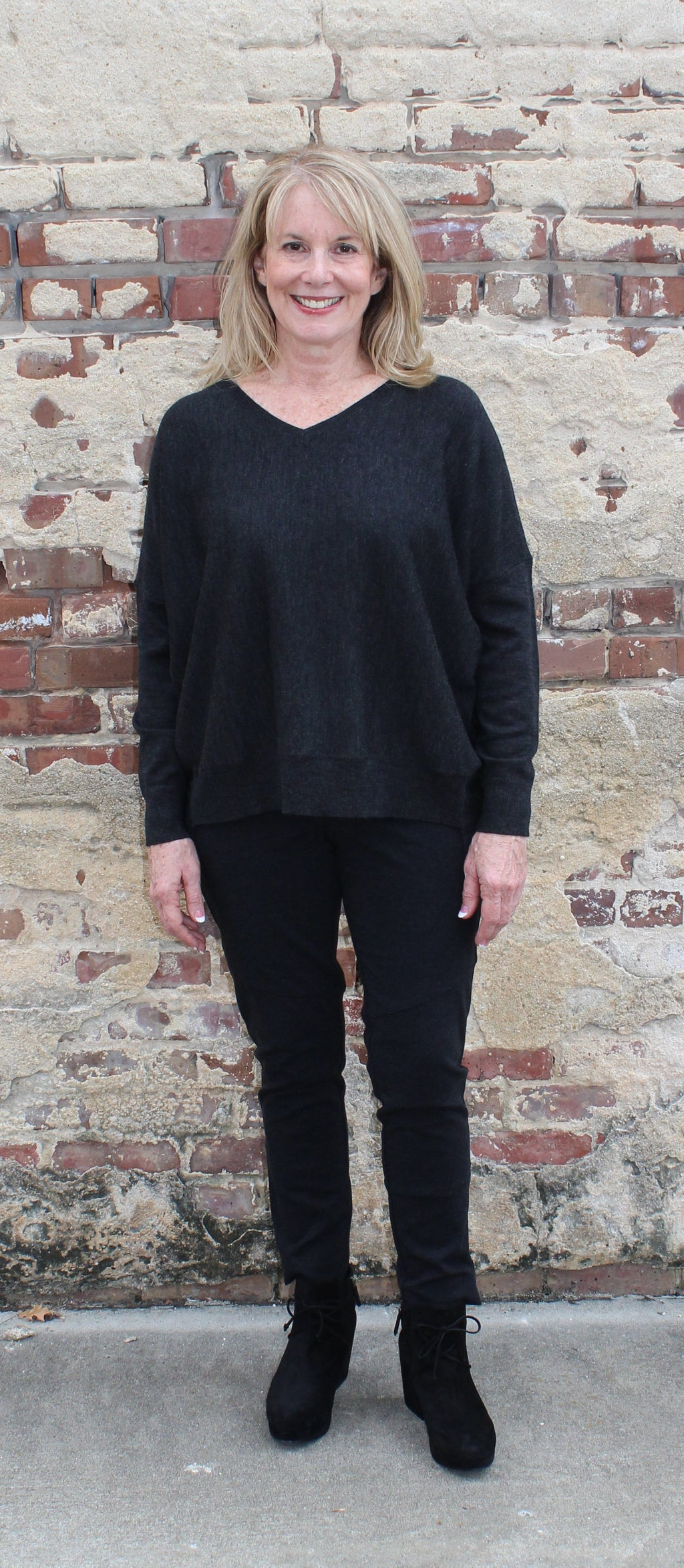 Eileen Fisher V-Neck Box Top in Merino Fine Jersey-Charcoal