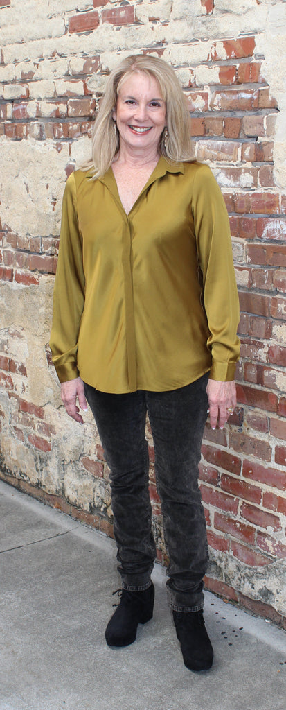 10001b4a1f8335 Eileen Fisher Classic Collar Bias Shirt in Stretch Silk Charmeuse ...