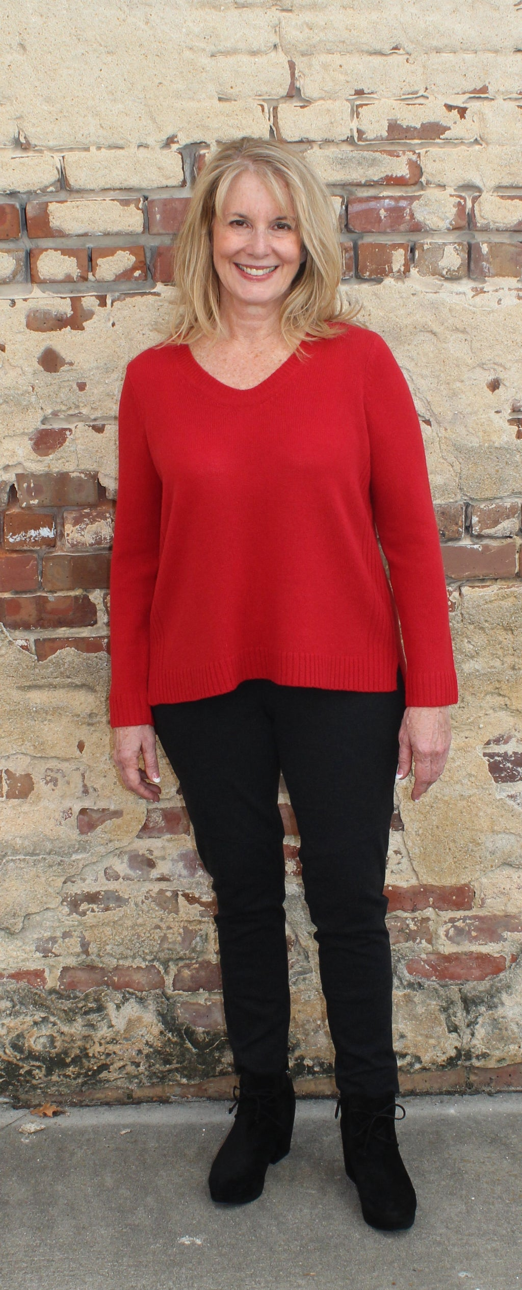 Eileen Fisher Soft V-Neck Box Top in Supersoft Yak and Merino-Lacquer