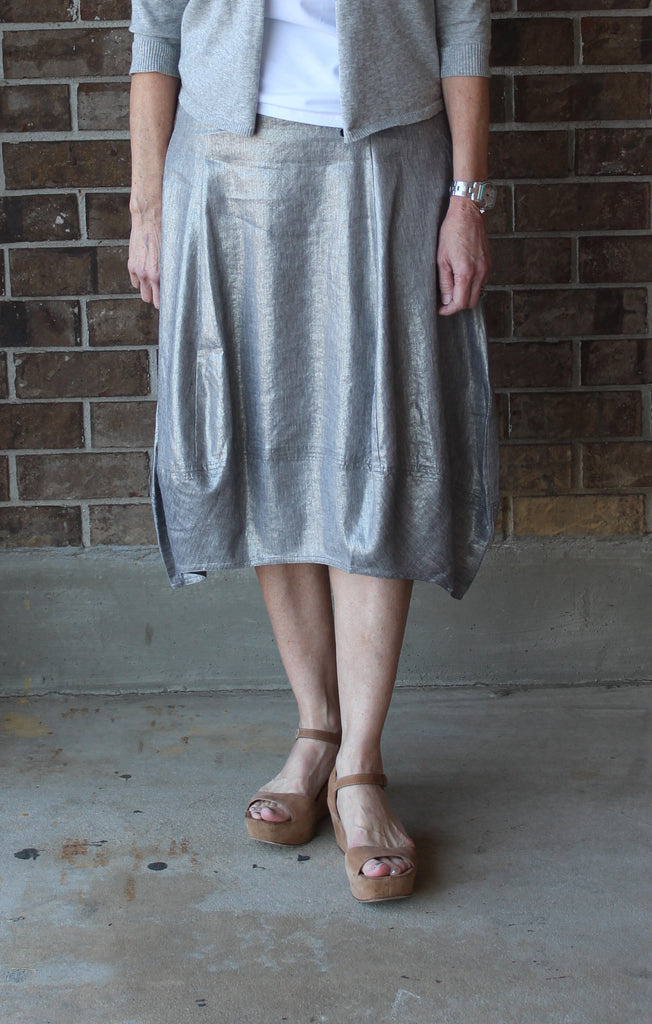 28 Inch Calf-Length Skirt in Glimmer Linen Stretch