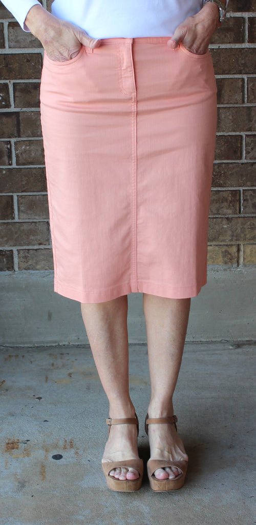 Eileen Fisher Knee Length Pencil Skirt in Peach Denim SALE!