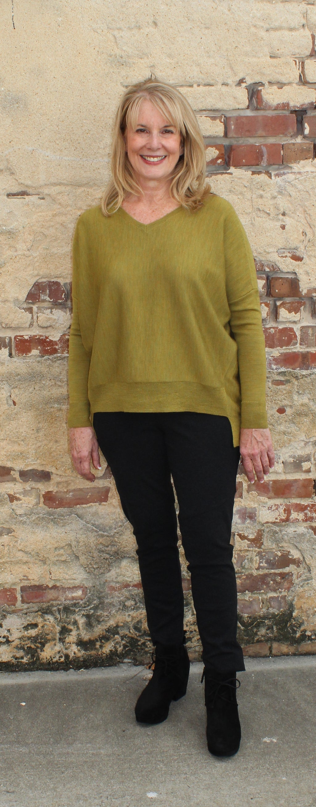 Eileen Fisher V-Neck Box Top in Fine Merino Jersey-Peridot