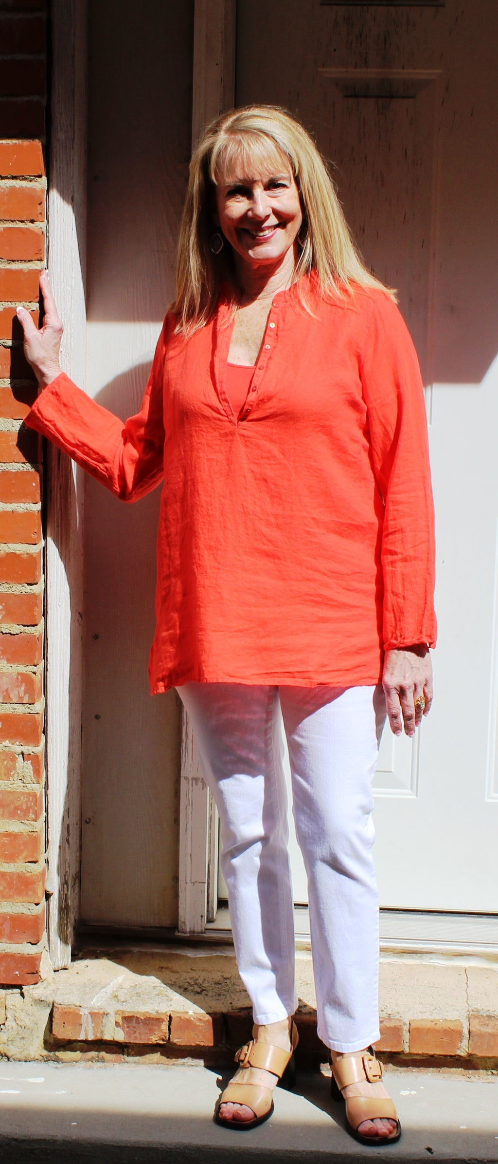 Eileen Fisher Mandarin Collar Tunic in Organic Handkerchief Linen in Red Lory