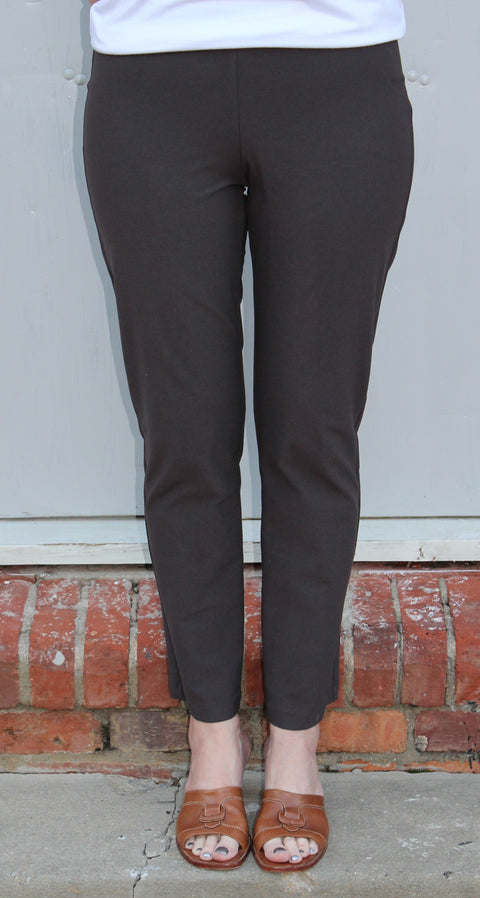 Eileen Fisher Slim Ankle Pant with Yoke in Washable Stretch Crepe in Deep Rye