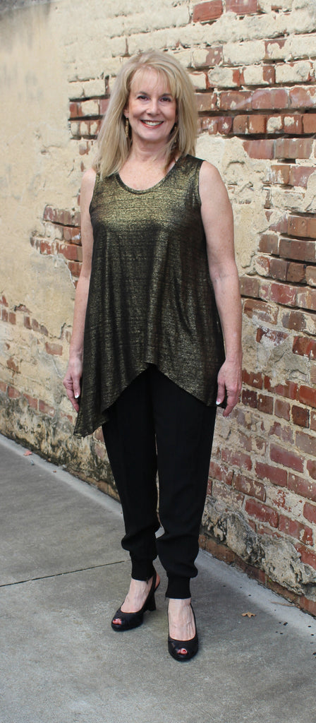 Eileen Fisher Soft V Neck Long Shell in Organic Linen Jersey Shimmer-Blk/Gold