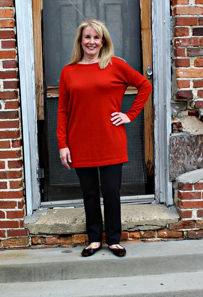 Eileen Fisher Bateau Neck Long Tunic in Merino Jersey in Mandarin