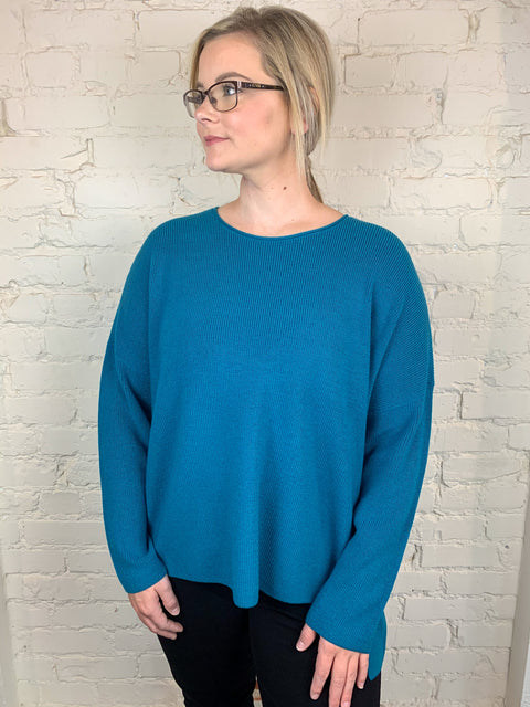 Eileen Fisher Crew Neck Box Top in Fine Merino in Jasper