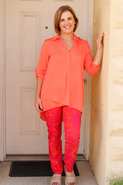 Renuar Woven Pant in Hot Pink/ Orange Combo