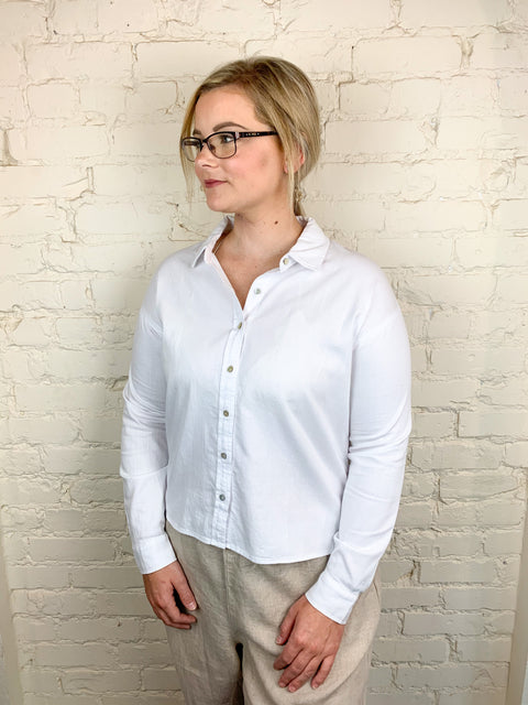 Eileen Fisher Classic Collar Shirt in Cotton Twill