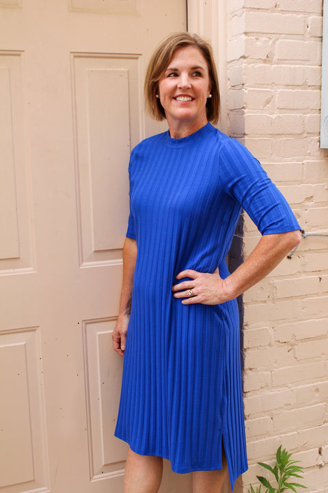 EILEEN FISHER MOCK NECK K/L DRESS IN ROYAL
