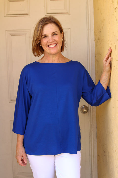 EILEEN FISHER TENCEL JERSEY BATEAU NECK TOP IN ROYAL