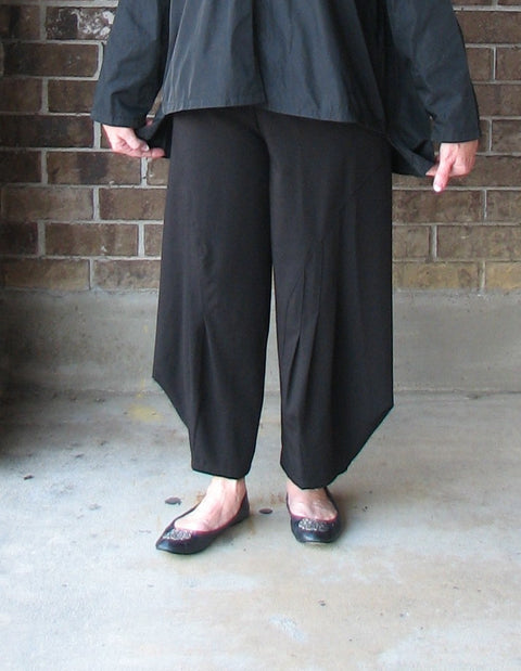 PLANET Gabardine Panel Pleat Pant in Black