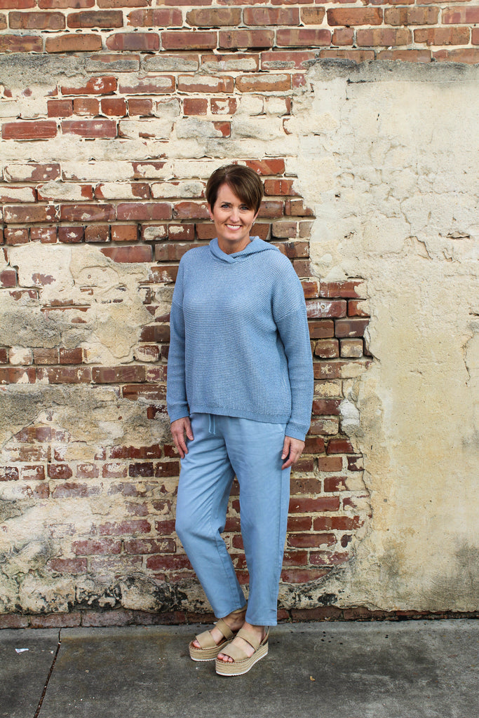 Eileen Fisher TENCEL & LINEN TAPERED ANKLE PANT