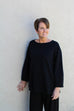 Eileen Fisher Bateau Neck Top in Tencel Ponte in Black