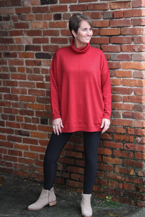 EILEEN FISHER MERINO TURTLENECK BOX-TOP
