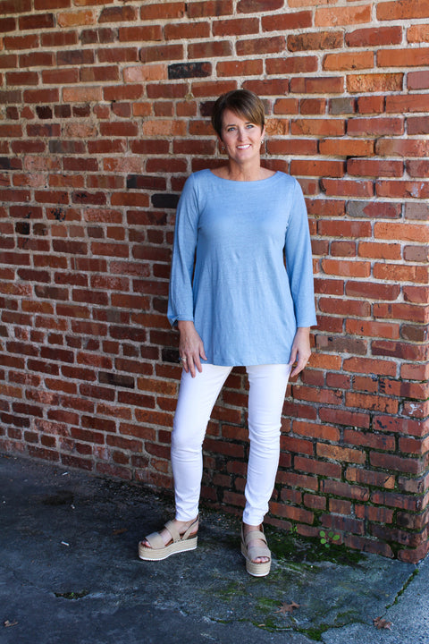 Eileen Fisher Bateau Neck Tee in Linen Jersey