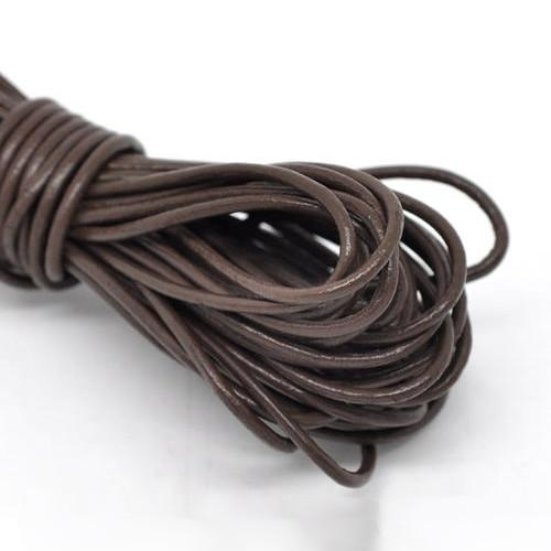 Cord, Leather, (Dyed), Chocolate Brown, 2mm, Round. Sold Per Meter - BEADED CREATIONS